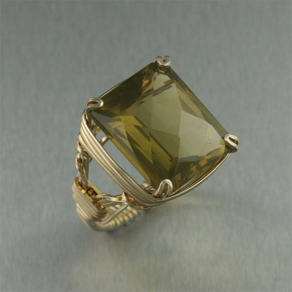 Green Gold Quartz 14K Gold-filled Cocktail Ring - Rectangle - johnsbrana - 1