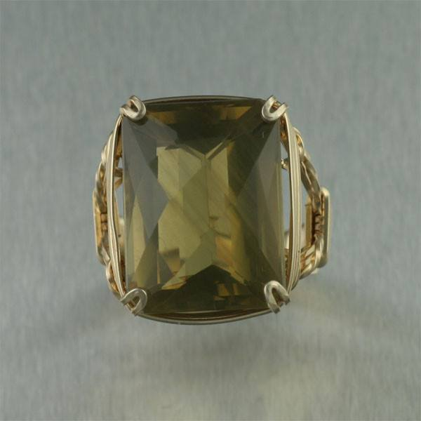 Green Gold Quartz 14K Gold-filled Cocktail Ring - Rectangle - johnsbrana - 2