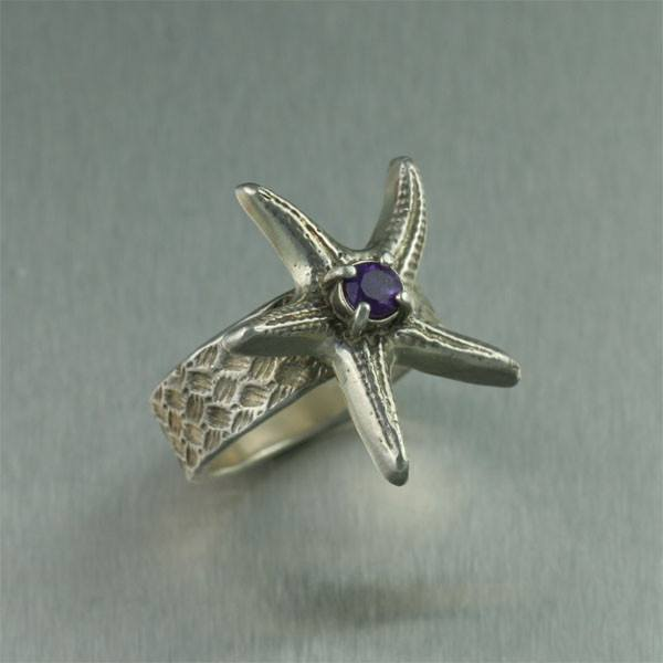 Sterling Silver Starfish Ring with Amethyst - johnsbrana - 1