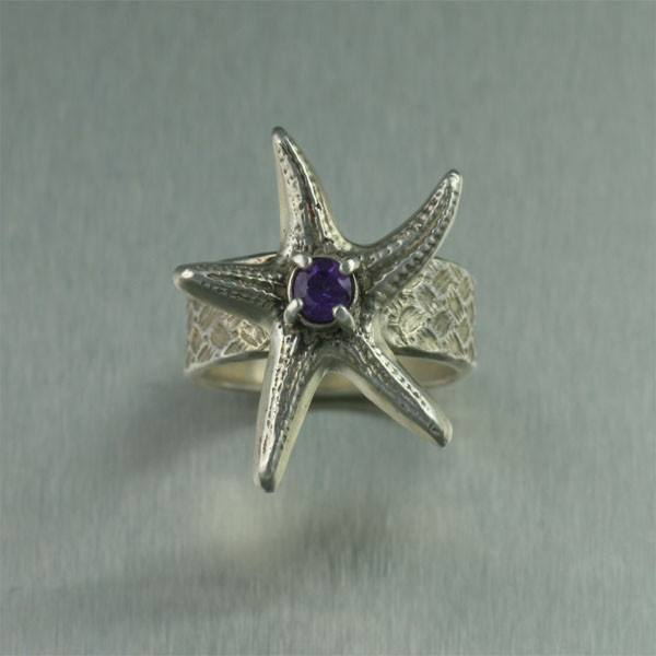 Sterling Silver Starfish Ring with Amethyst - johnsbrana - 2