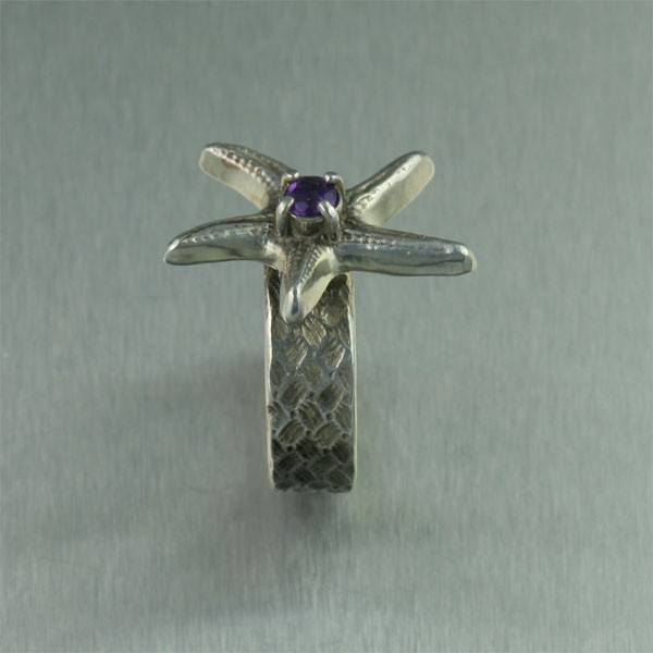 Sterling Silver Starfish Ring with Amethyst - johnsbrana - 3