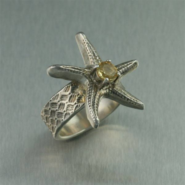 Sterling Silver Starfish Ring with Citrine - johnsbrana - 1