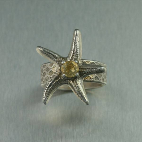 Sterling Silver Starfish Ring with Citrine - johnsbrana - 2