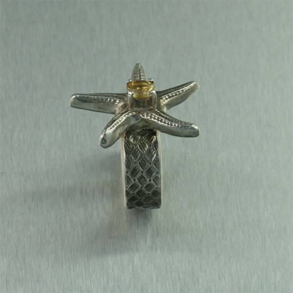 Rings - Sterling Silver Starfish Ring With Citrine