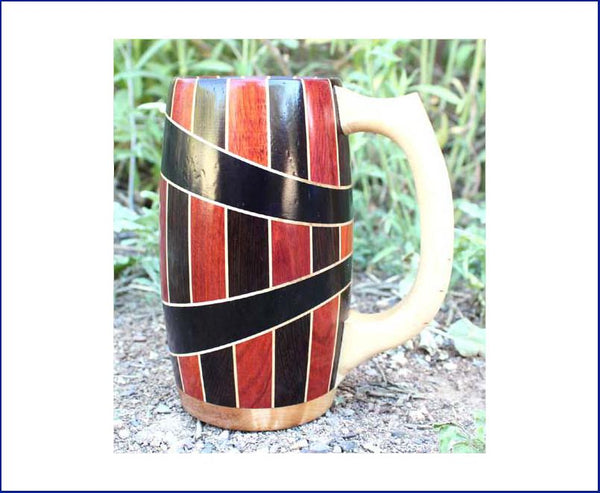 LOVIVER 4 Wooden Goblet Mug Beer Tankard Christmas Party Pure Handcrafted Coffee Mug