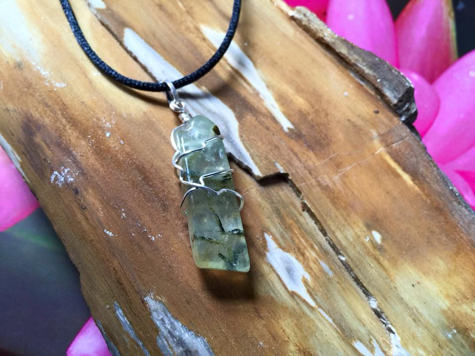 Wire Wrapped Prehnite Crystal Pendant