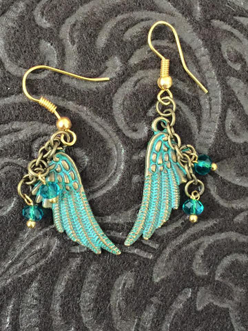 Antiqued Brass/Gold Angel Wing Earrings GER1001
