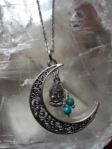 Lunar Pendant/Buda Head with Turquoise beads