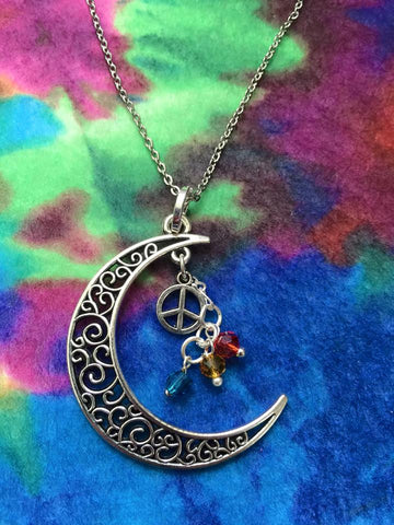Lunar Pendant/Peace Sign with Multi-color Beads