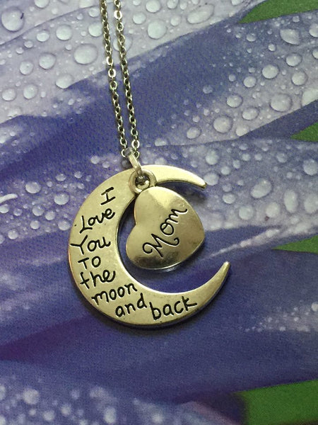 I Love You to the Moon and Back Silver Pendant (Mom) P1020