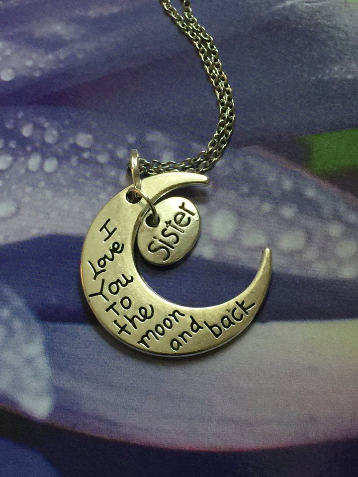 I Love You To The Moon and Back Silver Pendant (Sister) P1022