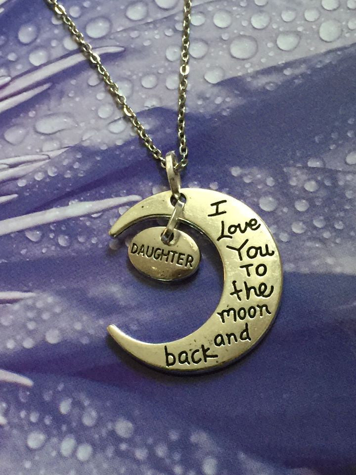 I Love You To The Moon and Back Silver Pendant (Daughter) P1023