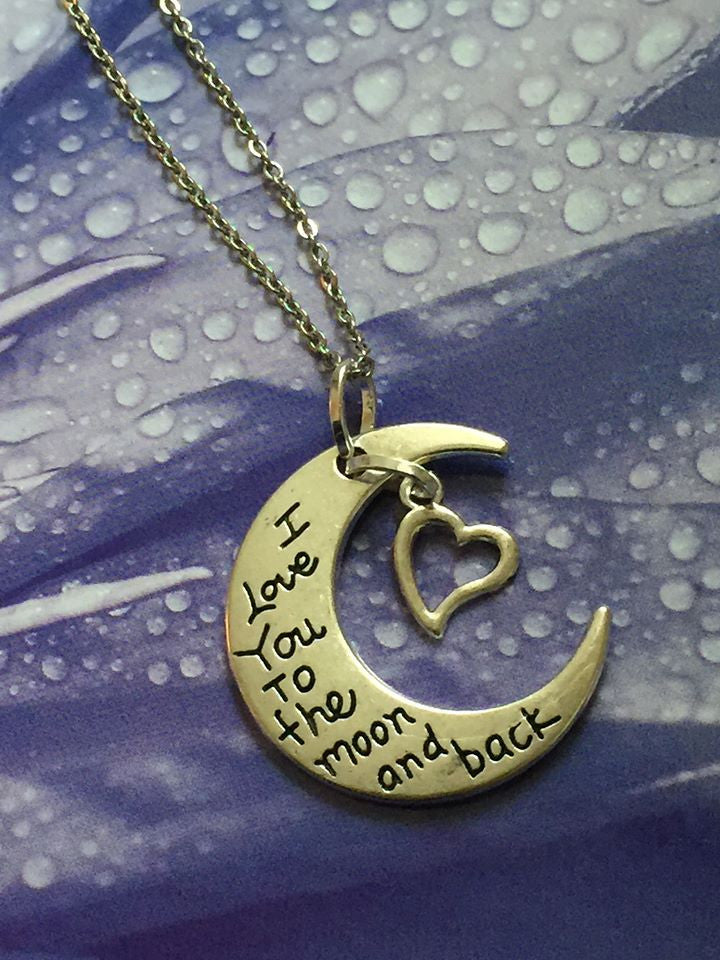 I Love You To The Moon and Back Silver Pendant (Heart) P1025