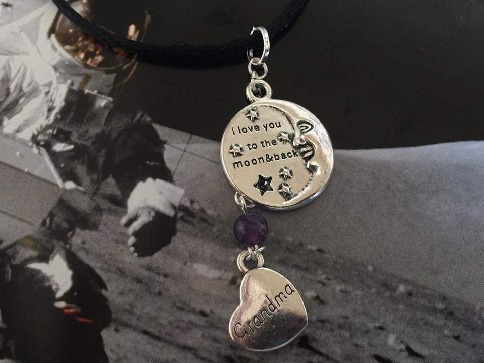 I Love You To The Moon and Back Silver Dangle Pendant (Grandma) P1027