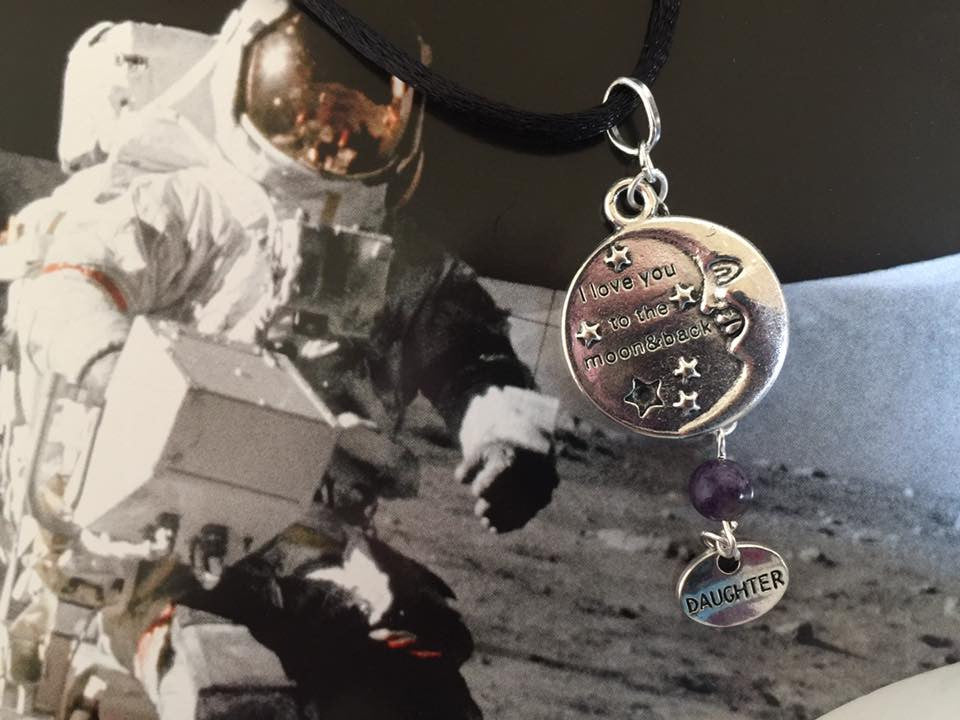 I Love You to The Moon And Back Silver Dangle Pendant (Daughter) P1029