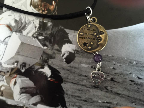 I Love You To The Moon And Back Silver/Brass  Dangle Pendant (Best Friend) P1032