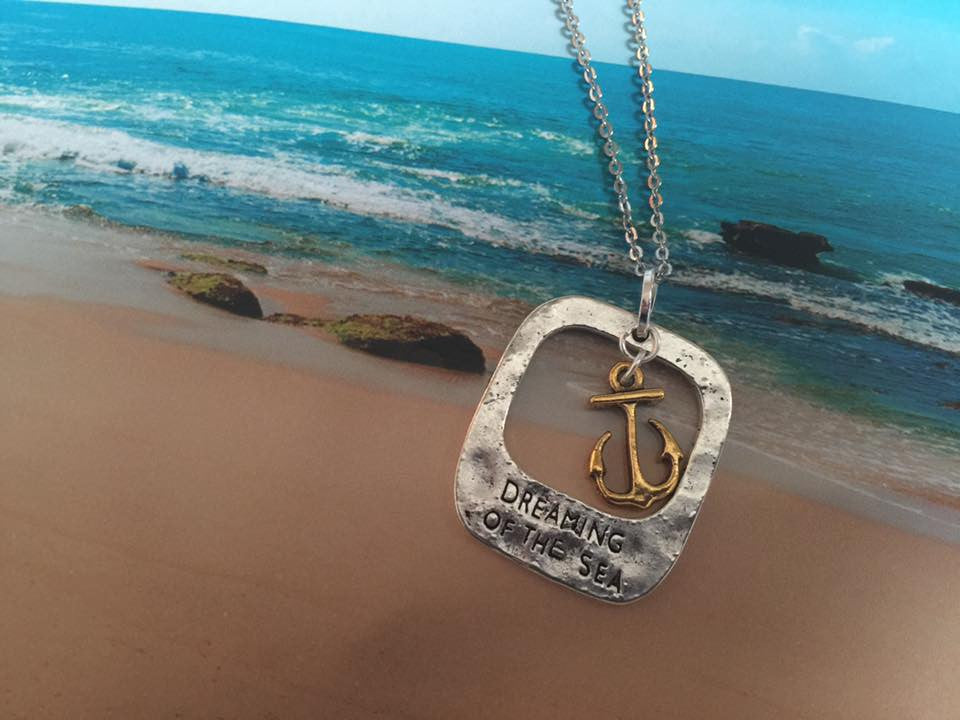 Dreaming of The Sea Silver and Gold Pendant (Anchor) P1036
