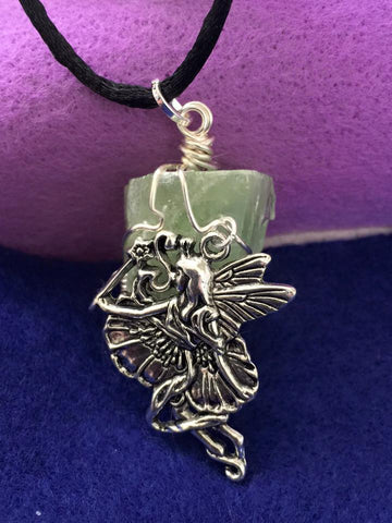 Green Calcite with Fairy Pendant PE1024