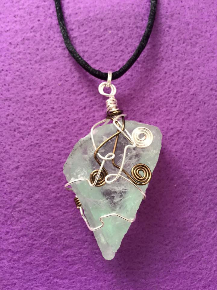 Green Calcite Wire Wrapped Pendant PE1030