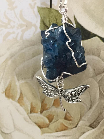 Blue Crystal with Dragonfly Pendant PE1032