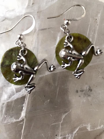 Silver Frog Earrings