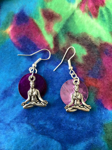 Silver Yoga Woman Earrings