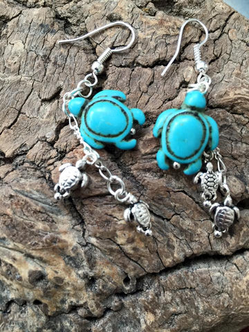 Silver and Turquoise BlueTurtle Earring