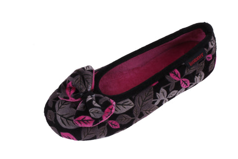 young and trendy ballerina slipper with flower pattern