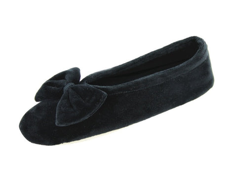 Soft grey slipper with bow