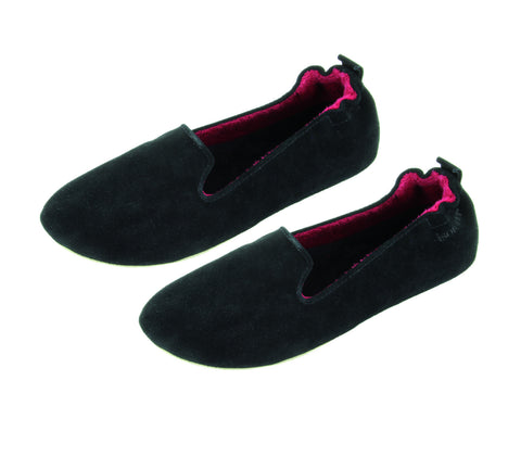 practical black slipper with leather sole