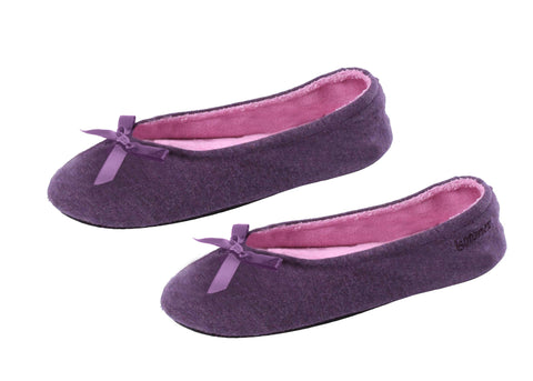 Cotton ballerina slipper with rubber sole