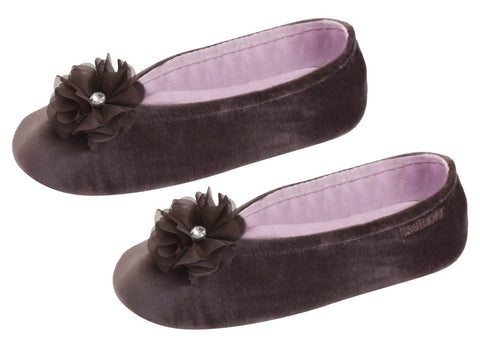 Brown ballerina slipper with flower