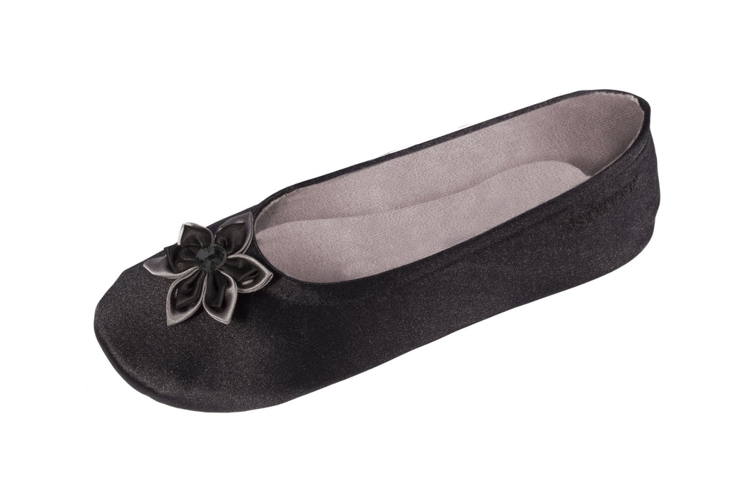 Ballerina Satin Black with flower- NEW