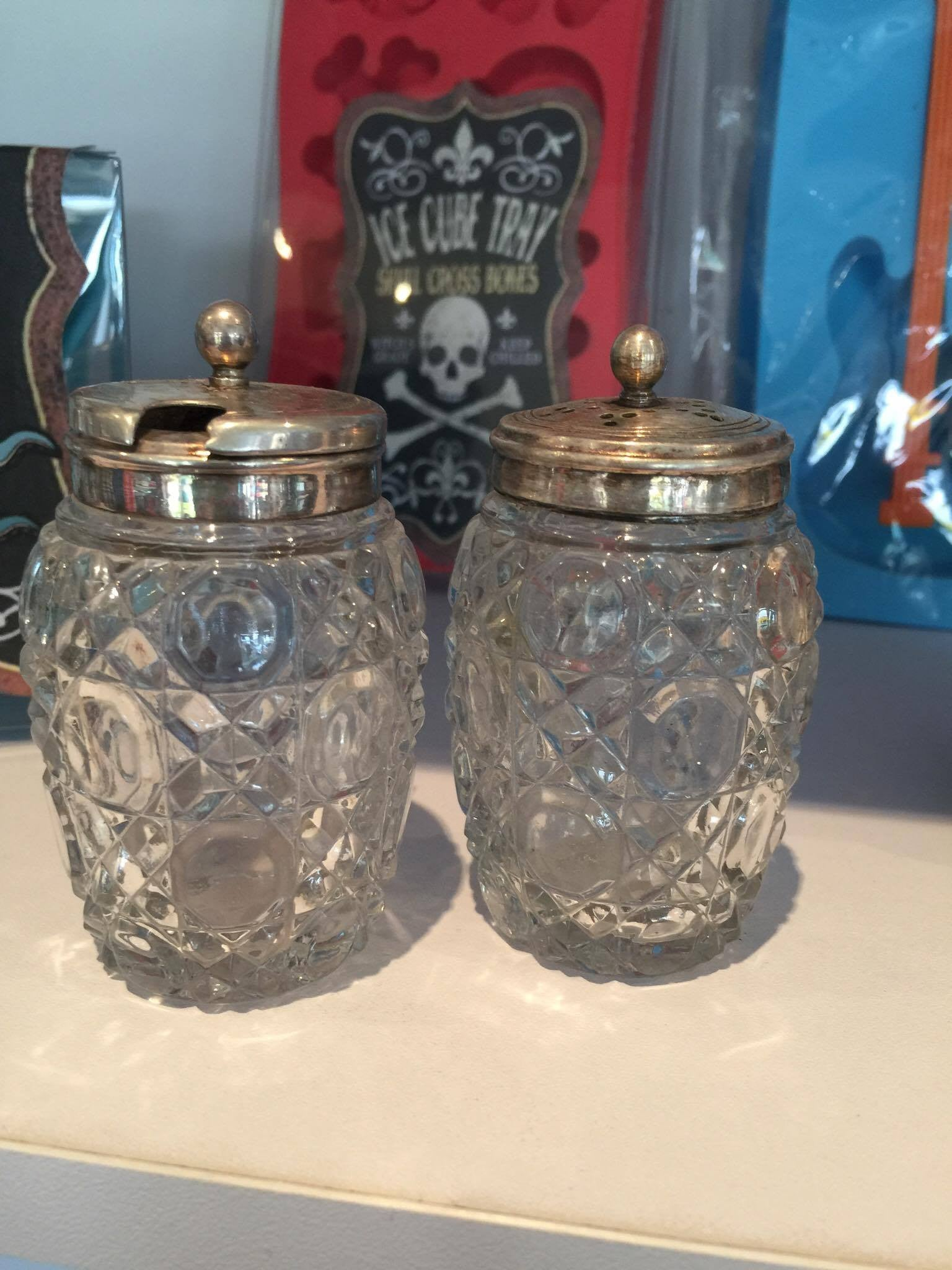 Vintage retro crystal salt and peppers