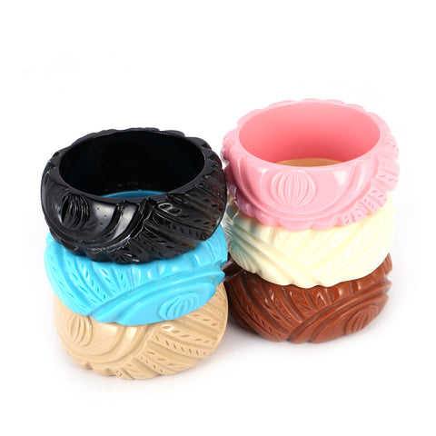 Delicate Classic Chic Beautiful Carved Design Wide Resin Bangle Brac... click for more information