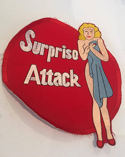 CLOTH PATCHES -  Vintage Nose Art Suprise Attack Pin Up