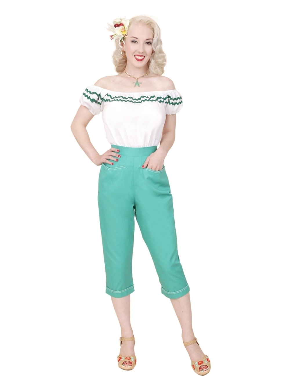 VIVIENNE OF HOLLOWAY PANTS - Capri Pants Teal Drill - Atomic Retro