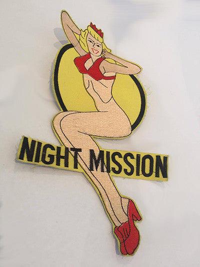 CLOTH PATCHES -  Vintage Nose Art Night Mission Pin Up
