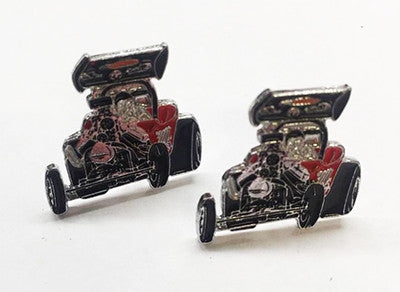 LAPEL BADGES / BROOCHES -  Hot Rod Dragster Red