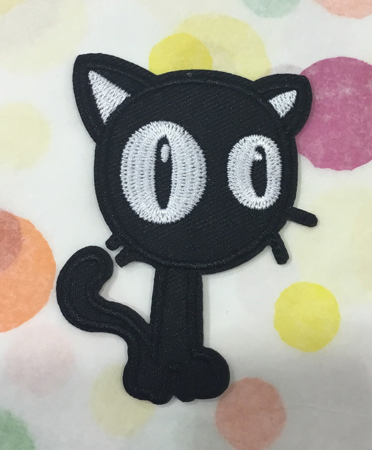 CLOTH PATCH - Black cat with huge eyes - Atomic Retro