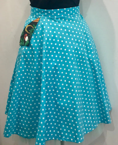SKIRT - HANDMADE - Blue Polka Dot