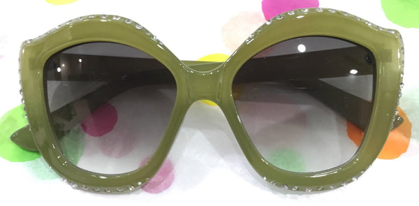 SUNGLASSES RETRO - ROUND CAT EYE WITH BLING PALE GREEN - Atomic Retro