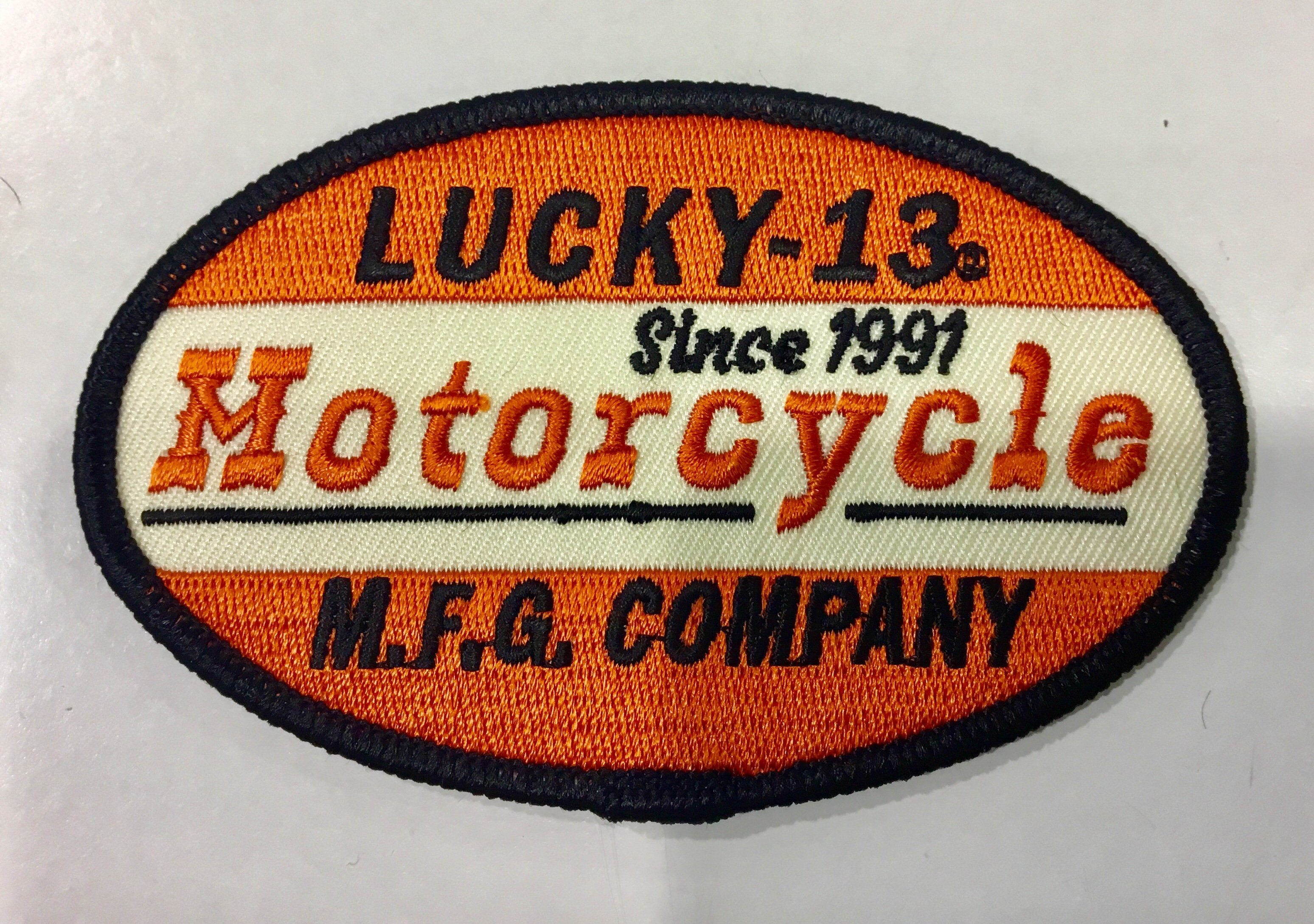 CLOTH PATCH - Lucky 13 Motorcycle - Atomic Retro