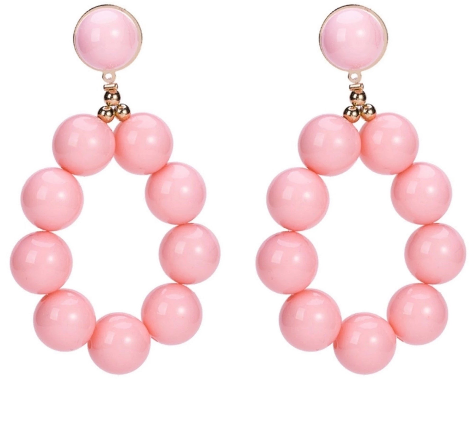 EARRINGS - Pearly Dangle - Pink - Atomic Retro