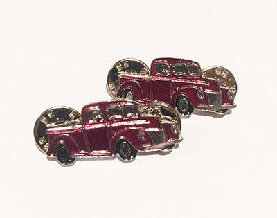 LAPEL BADGES / BROOCHES -  Hot Rod Pick Up  Maroon