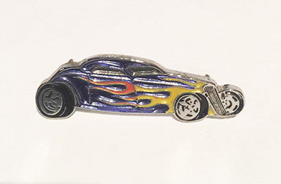 LAPEL BADGES / BROOCHES -  Hot Rod Coupe - Purple with flames