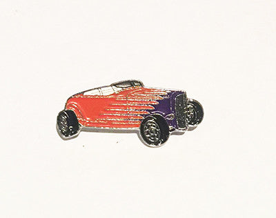 LAPEL BADGES / BROOCHES -  Hot Rod Roadster orange / purple