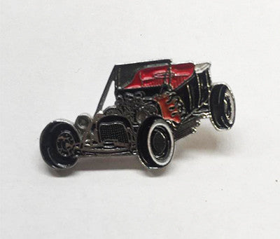 LAPEL BADGES / BROOCHES -  Hot Rod T Bucket Black with Flames