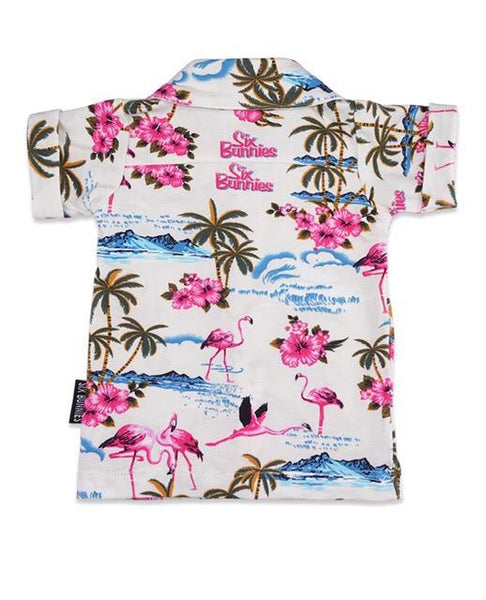 KIDS SHIRT - SIX BUNNIES - Flamingo White - Atomic Retro