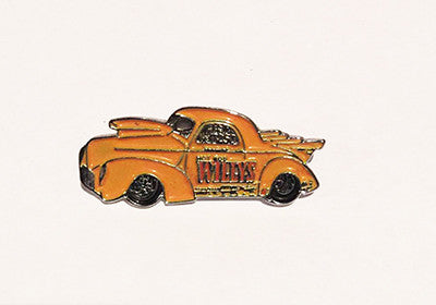 LAPEL BADGES / BROOCHES -  Hot Rod Willys Yellow